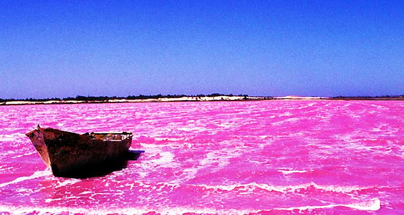 El lago Rosa en Senegal